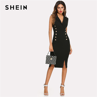 SHEIN Black Elegant Notched V Neck Double Button Sleeveless Pencil Knee Length Skinny Dress Summer Women Sexy Workwear Dresses