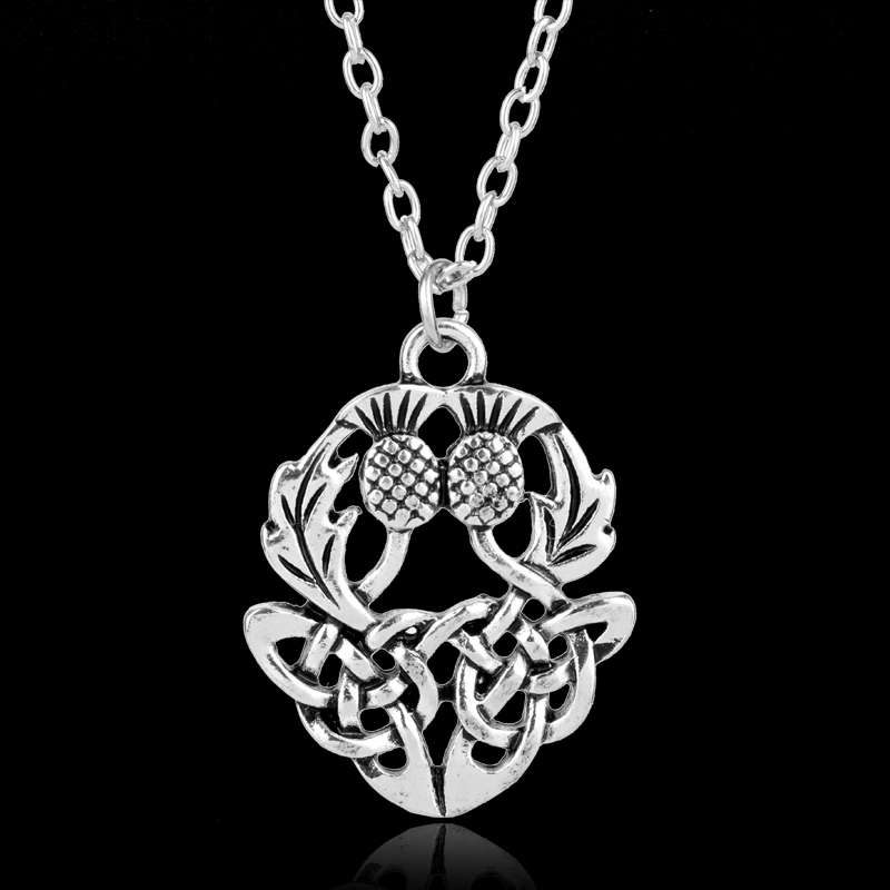 MQCHUN New Vintage Celtics Knot Thistly Flower Field Scotland National Symbol Necklace Charm Fashion Jewelry For Men Women Gifts