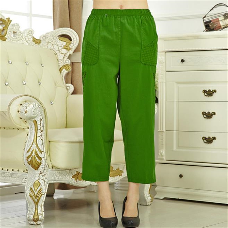Woman Spring Plus Size High 100% Cotton Ankle-length   Pants   Female Summer Thin Breathable Trousers Lady Oversized Loose   Capris