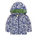 kids coat children outerwear child outerwear fashion Blue and white porcelain flower print girls trench coats baby girls jacket