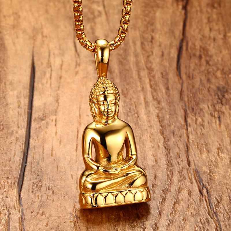 Mens Buddha Pendant Necklace Bodhisattva Amulet Talisman Necklaces in Gold-color Stainless Steel Fashion Men Jewelry collares