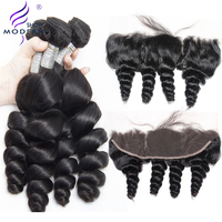 Brazilian Loose Wave Lace Frontal Closure With Bundles Modern Show 3 Pcs Human Hair Bundles With Closure Remy Hair Extensions