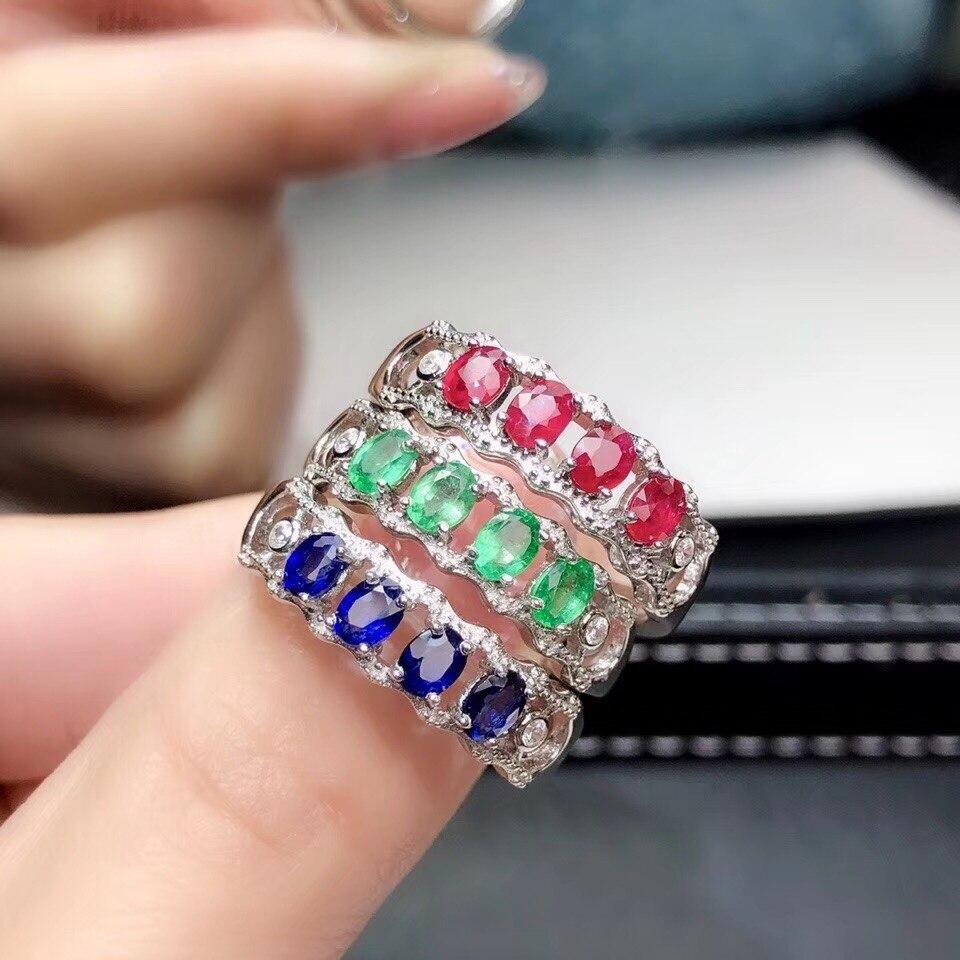 Rouge bleu vert coloré bague de pierres précieuses fine bijoux rubis naturel saphir émeraude gemme débordement 925 argent fête bague de fiançailles