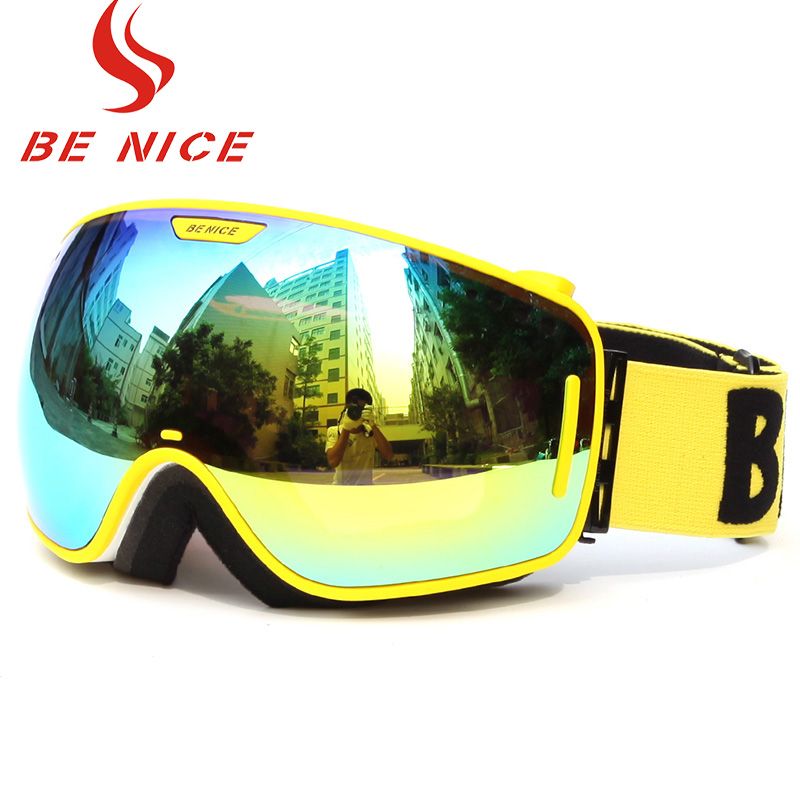 Benice Brand Ski Goggles Lens UV400 Double Anti-Fog Big Spherical Professional Ski Glasses Unisex Multicolor Snowboard Goggles