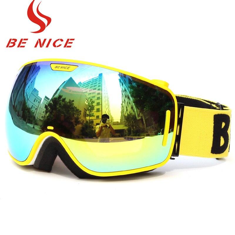 Benice marque lunettes de Ski lentille UV400 Double Anti-buée grande sphérique professionnel lunettes de Ski unisexe multicolore Snowboard lunettes