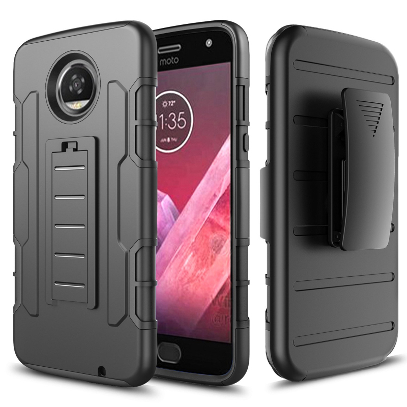 sports shoes 458e8 bd574 US $7.47 10% OFF|Coque For Motorola Moto z2 play Capa Moto Z2 Play case  Hybrid Silicon Back cover for Motorola z2 play Case +Belt Clip Holster-in  ...