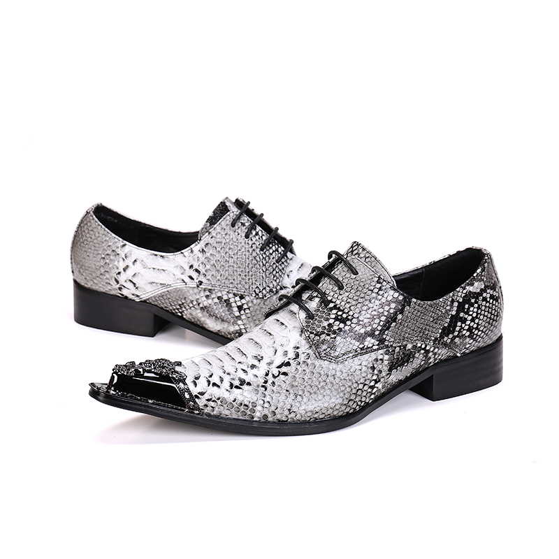 Genuine Leather Men Shoes Snakeskin Lace-Up Business Shoes Pointed Toe Men Oxfords Wedding Party Formal Dress Shoes Mens Flats mens genuine leather pointed toe buckle leather shoes crocodile print oxfords business man wedding shoes formal dress shoes