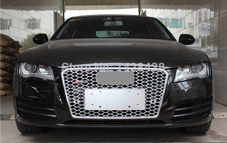 Rs7 Style Black Front Honeycomb Mesh Sport Grill Grille Fit For Audi
