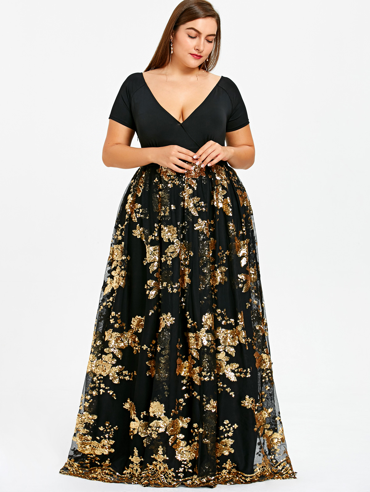 e0f4eed33337 Gamiss Plus Size Dress Women Sexy Deep V Neck Short Sleeves Floral Sparkly Maxi  Dresses Elegant