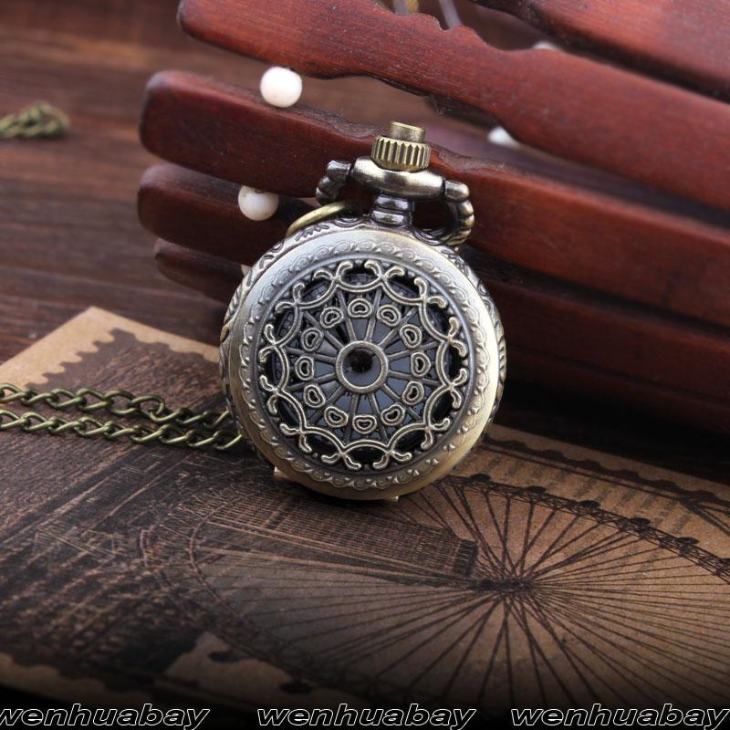 Brązowy Pająk Web Hollow Naszyjnik Mężczyzna Vintage Zegarek - Zegarki kieszonkowe - Zdjęcie 2