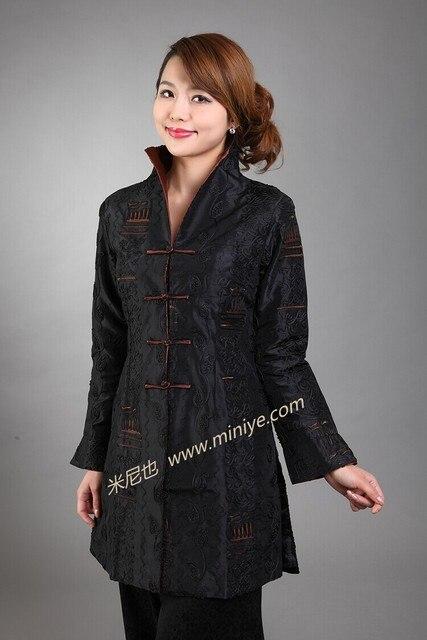 Черный Мода Новый Весна Традиционной Chineselong Траншеи Пальто женщин Размер Sml XL XXL XXXL MN0082