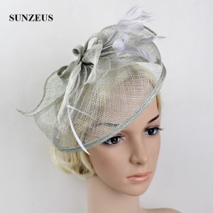 Image 4 - Wedding Hats and Fascinators Feathers Linen Elegant Bridal Hats Golden Color Womens Hat Hair Accessories SH13
