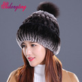Real Fur Knitted Hats Thicken Hedging Cap 2016 Casual Natural Fur Hats Pineapple Pattern Skullies Beanies For Women Donna MZ015