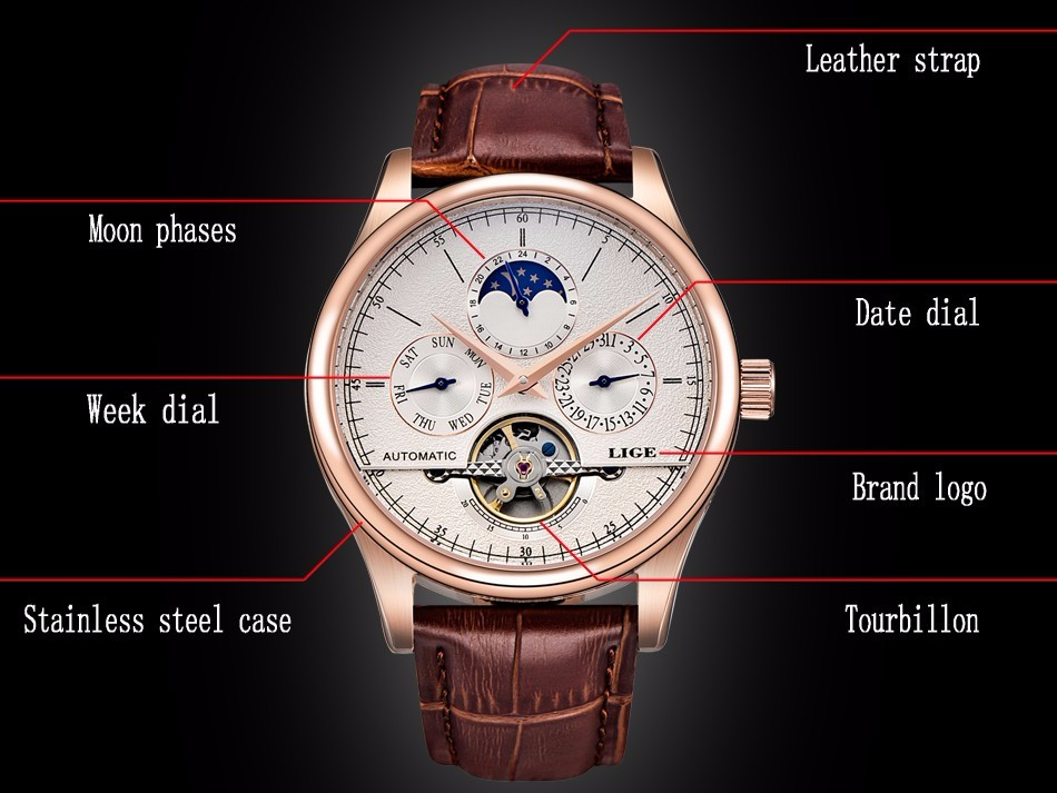 LIGE Mechanical Watches Tourbillon