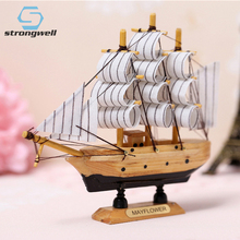 Strongwell 20cm Solid Wood Simulation Boat Model Mediterranean Mood Classic Wooden Sailing Toy Home Decoration Birthday Gift 1 50 classic wooden sailing boat rattlesnake 1782model kit page 2