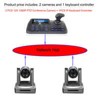 Kit de conferencia profesional 12x zoom óptico full HD control remoto nueva cámara de vídeo con controlador de teclado LCD IP de 5 pulgadas
