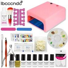 Ibcccndc Nail Art Set 36W UV Lamp 6 Color 7ml Soak off Nail Gel Base Top Coat Polish Remover Manicure Tools False Nail Tips Kit