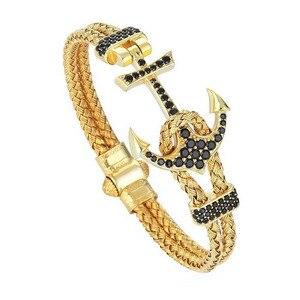 Image 4 - Anchor Cuff Bracelets & Bangles Men Atolyestone Bracelet Gold Stainless Steel Anchor Black Leather Cuff Bangles Pulsera BCB 0125