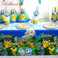 Hot Sale Pokemon Go Theme 127pcs/lot Kids Birthday Party Cup Plate Blowout Baby Shower Wedding Invitation Card Gift Bag Supply