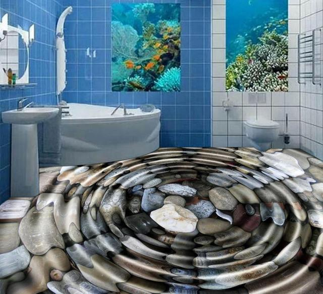 3D Floor Tiles For Livingroom Water Pebbles Black 3d Murals Vinyl Flooring Bathroom Pvc