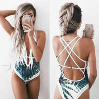 New Bamboo Leaf Printing Tropical One Piece Swimsuit Bikini Women's Beach Outings Gauze Lace Swimwear Women One Piece Saia