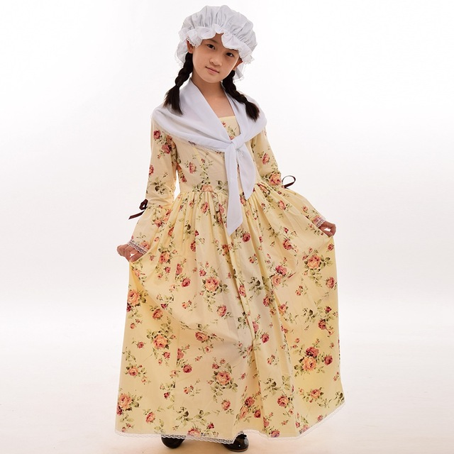 Halloween Carvinal Costume for Girls Colonial Countryside Kids Peasant Pilgrim Pioneer Cosplay Dress  sc 1 st  AliExpress.com & Halloween Carvinal Costume for Girls Colonial Countryside Kids ...