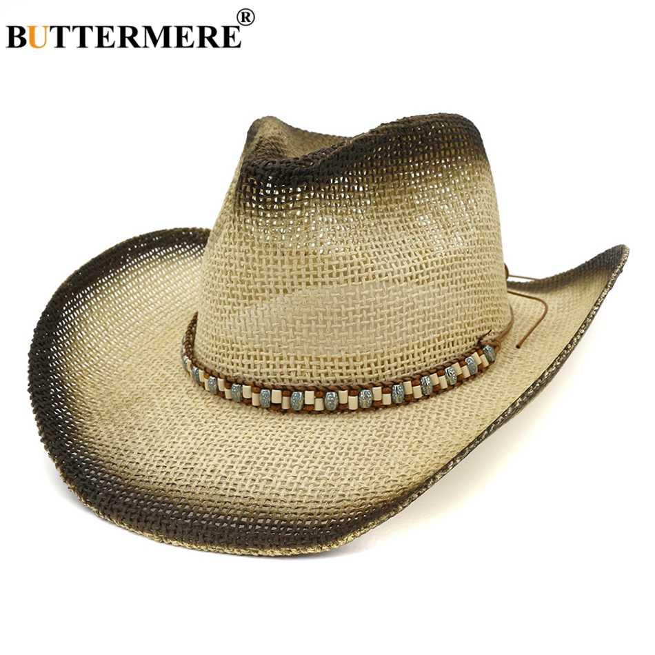 BUTTERMERE Vrouwen Zomer Hoed Brede Rand Stro Zonnehoed Cowboy Vrouwelijke Etnische Kralen Riem Dames Retro Western Jazz Hoeden UV zon Caps