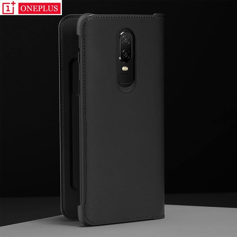 Оригинальный OnePlus 6 6T флип-чехол, черный чехол, искусственная кожа, флип-чехол, умный спящий режим, крышка защитный экран для Oneplus6 Six