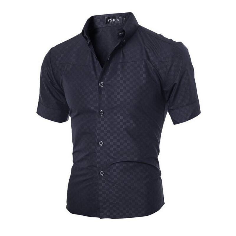 Men Shirt 2018 남성 브랜드 패션 격자 무늬 셔츠 남성용 반팔 셔츠 Camisa Masculina 캐주얼 슬림 드레스 셔츠 Homme XXXL YJ