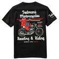 Marca de la marea japonesa lucky ghost motocicleta patrón de manga corta camiseta de Verano nueva llegada de la manera de calidad de algodón camiseta de los hombres