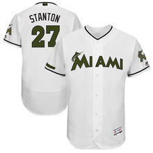 9f4a94048ee MLB Men s Miami Marlins Giancarlo Stanton Baseball White 2017 Memorial Day  Authentic Collection Flex Base Player