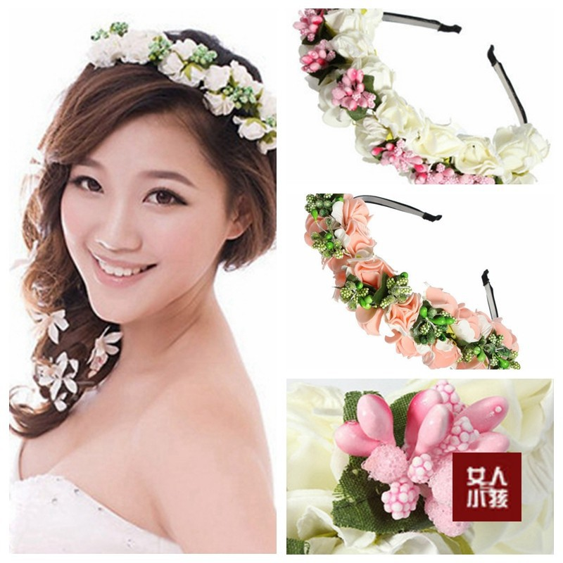 Hot new fashion pinkwhite flower garland boho floral headband hot new fashion pinkwhite flower garland boho floral headband girls headwear garland festival wedding bridal hairband women in hair accessories from mightylinksfo