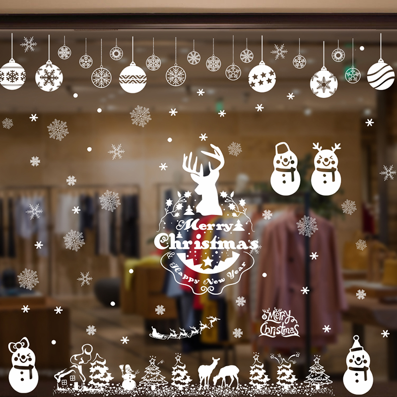 Рождественская елка Снеговик носок олень наклейки на стену христианское украшение дома поделки ПВХ магазин окно олень праздничный плакат