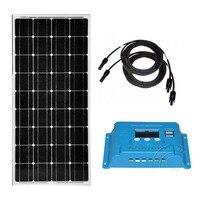 Панели солнечные комплект 12 В 100 Вт Батарея заряда Контроллер заряда 12 В/24 В 10A Pv кабель caravanas Autocaravanas Caravan LM