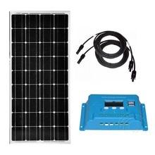 все цены на Solar Panel Kit 12v 100w Battery Solar Charge Solar Charge Controller 12v/24v 10A Pv Cable Caravanas Autocaravanas Caravan LM онлайн