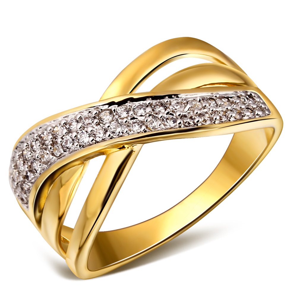 women woven design deluxe cubic zirconia wedding ring 18k real gold