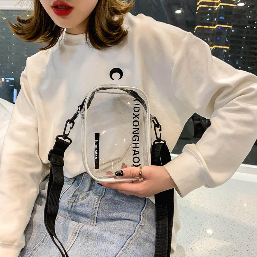 Fashion PVC Square Fanny Pack Banana Bag Belt Transparent Cosmetic Bag Wild Messenger Bag Shoulder Fashion Chest Pocket J08
