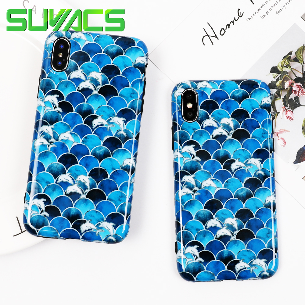 SUYACS Phone Case For iPhone 6 6S 7 8 Plus X Glossy Luxury Blue Fish Scales Soft IMD Phone Back Cover Cases Protector