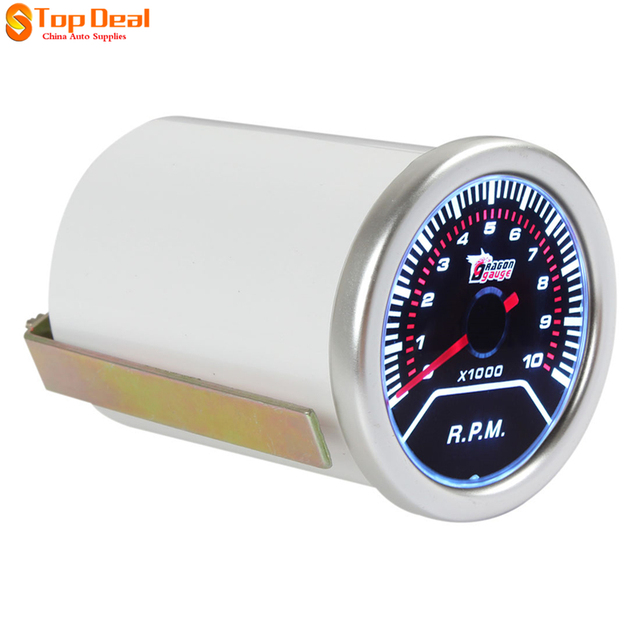 """Mais novo 2 """"52mm 0 ~ 10000 RPM Car Veículos LED Branco Universal Tacômetro Tacho Medidor Medidor de RPM"""