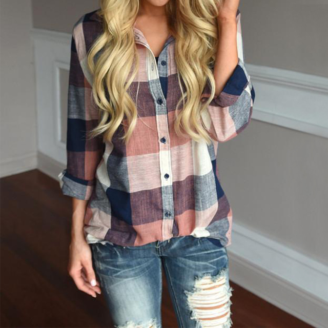 New Fashion Large Size S-5XL Women's Turn-Down Plaid Print Blouse Shirt Plus Size Tops Autumn Winter Long Sleeve Casual Blouses