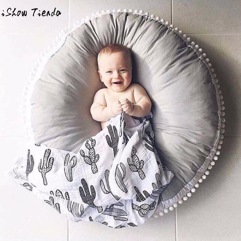 Round Shape Baby Blanket Photography Prop Solid Color Cotton Creeping Mat Playmat Baby Accessories chic quality casual style solid color cotton pattern knitted blanket