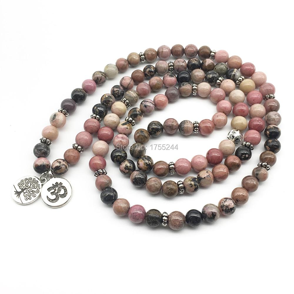SN1374 Ohm arbre de vie Bracelets perlés 108 Bracelet Mala pour femmes naturel noir veine Rhodonite pierre Bracelet livraison gratuite-in Bracelets ficelle from Bijoux et Accessoires    2