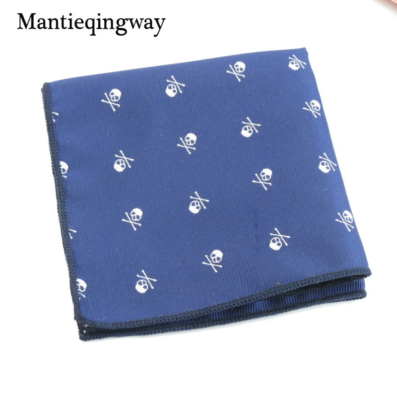 Mantieqingway Fashion Skull Jacquard Pocket Square Handkerchiefs For Mens Wedding Business Suit Men Polyester Pocket Hankies