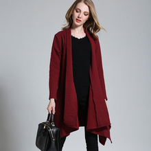 New winter Knitted Long Sleeve Asymmetrical Solid Cardigan Long sleeve knit Cardigan sweater coat plus size