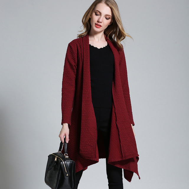 New Winter Knitted Long Sleeve Asymmetrical Solid Cardigan Long