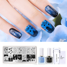 BORN PRETTY Nail Stamping Kit 2 Bottles Polish +Stamping Plates +Clear Jelly Stamper Scraper Art Tools