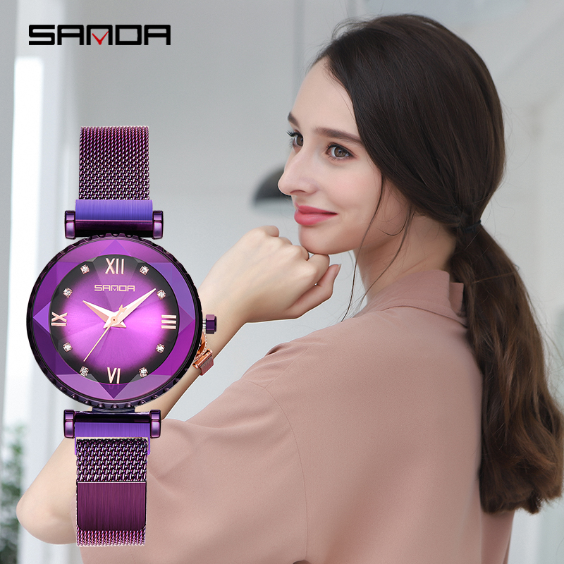 SANDA mode montre pour femme 2019 Deluxe or Rose montre étanche femme montre Quartz relogio feminino