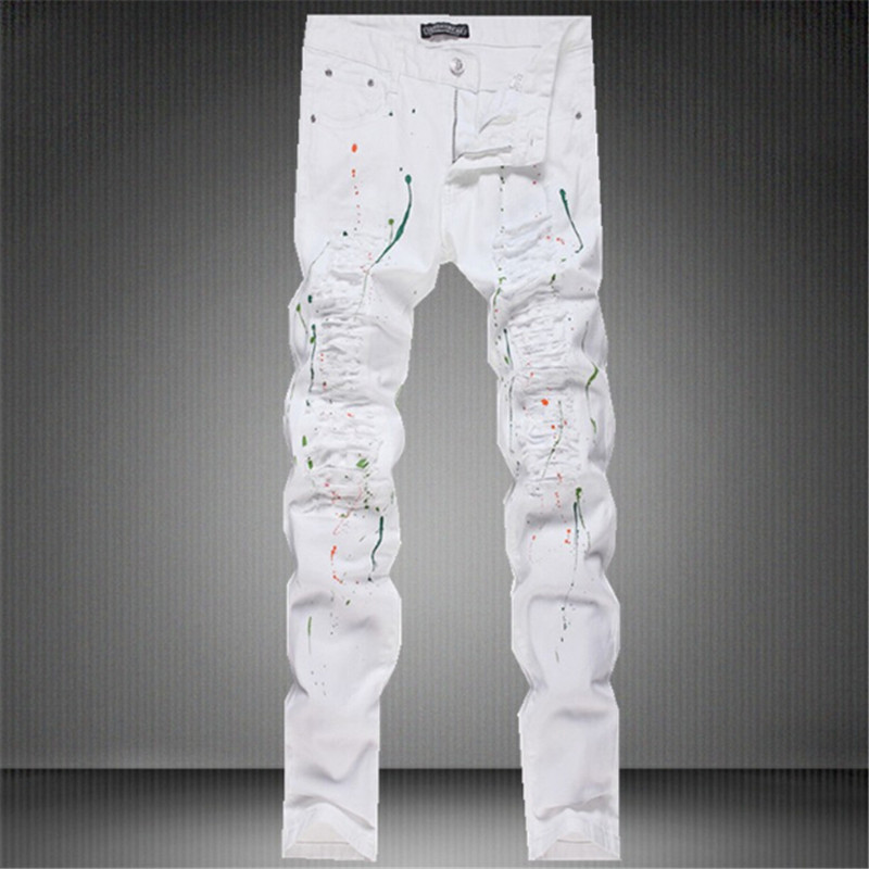 ФОТО Free delivery 2017 new fashion tide male cut rotten hole paint white jeans men's straight pants