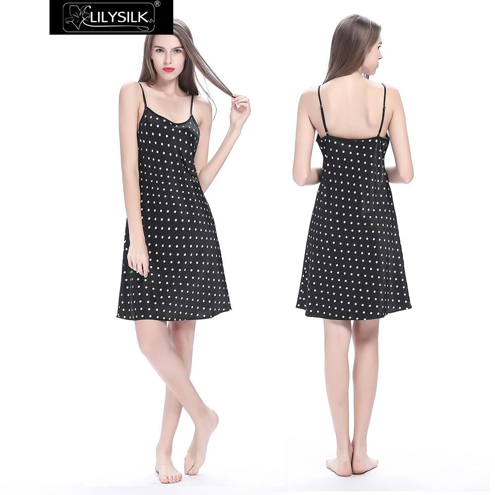 black-19-momme-short-silk-nightgown-with-white-dots-01