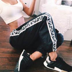 2017 мода стороны камуфляж Группа Лоскутные Брюки Женские Черные пят брюки широкий тренировки ноги карандаш брюки
